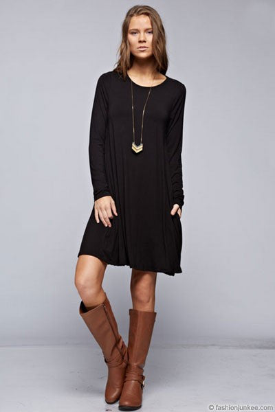 Solid Jersey Tunic Dress with Side Pockets - Black - Bohemian Bliss
