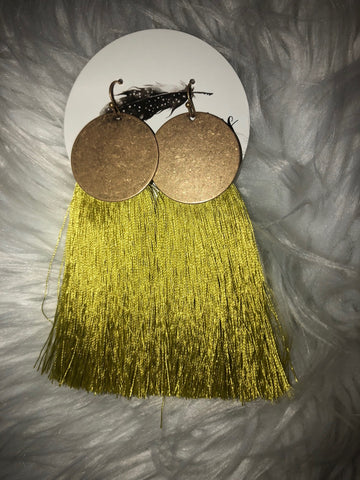 Neon Yellow Tassel Earrings