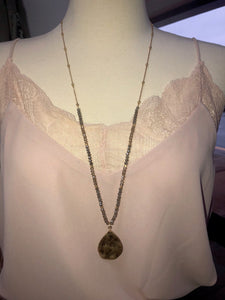 Gold Hammered Beaded Necklace