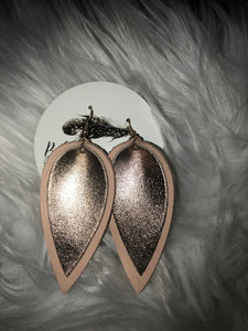 Double Petal Leather Earrings