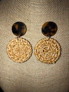 Bohemian Bliss Boutique,Tortoise/Rattan Earrings,Earrings,Golden Stella