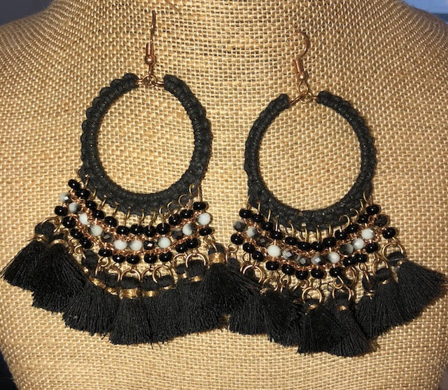Bohemian Bliss Boutique,Black Beaded Tassel Earrings,Earrings,Golden Stella