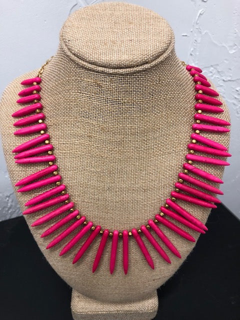 Hot Pink Spike Necklace, Necklaces - Bohemian Bliss Boutique