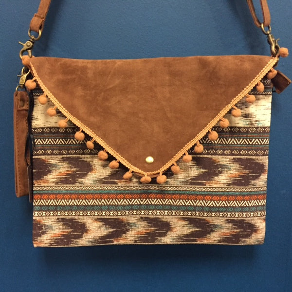 Tribal Print Clutch with Suede and PomPoms - Bohemian Bliss