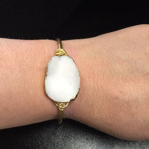 Bohemian Bliss Boutique,Summer Renee White Druzy Brass Cuff,Cuff,Summer Renee