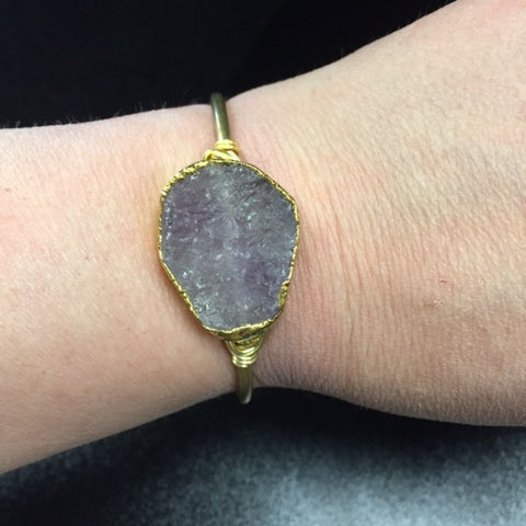 Summer Renee Light purple Druzy Brass Cuff