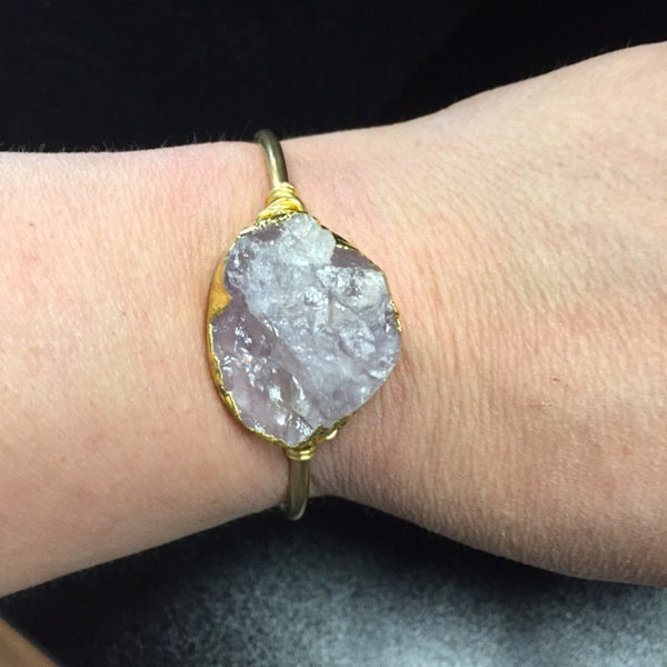 Bohemian Bliss Boutique,Summer Renee Light purple Druzy Brass Cuff,Cuff,Summer Renee