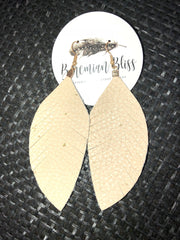 Leather Feather Earrings, Earrings - Bohemian Bliss Boutique