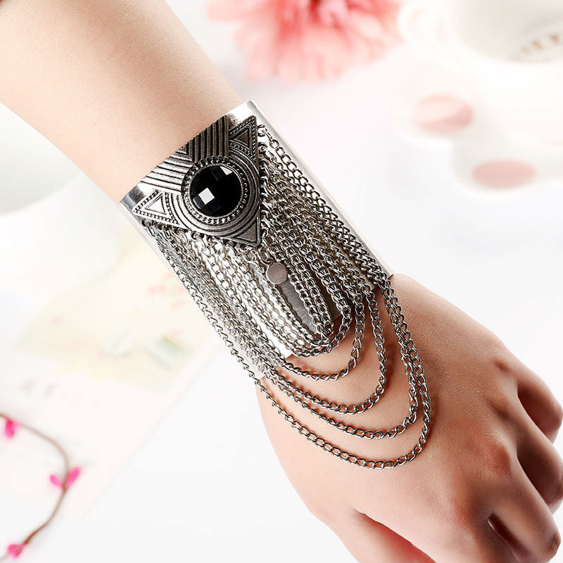 Bohemian Bliss Boutique,Vintage Silver Cuff with Chain Loop,Bracelets,joyme Official Store