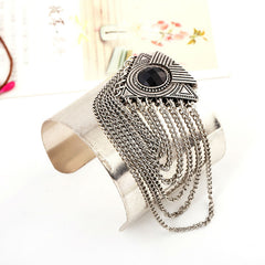 Vintage Silver Cuff with Chain Loop