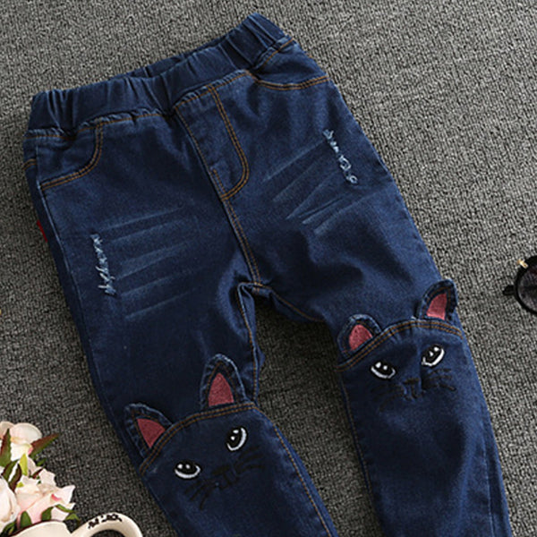 Bohemian Bliss Boutique,Kids Cartoon Cat Jeans,Childrens,HAKOONA Childhood Store