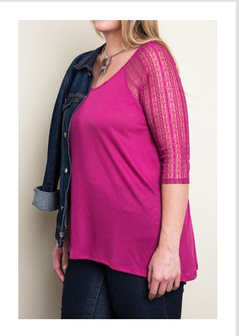 Bohemian Bliss Boutique,Magenta Lace Sleeve Knit Top - Plus,Plus Tops,Bohemian Bliss