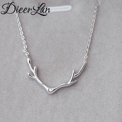Bohemian Bliss Boutique,Sterling Silver Antler Necklace,Necklaces,DIEERLAN Official Store