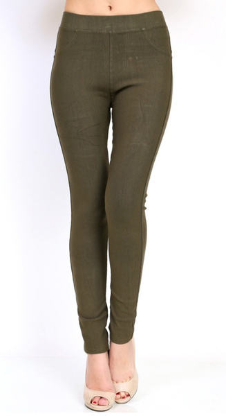 Stretch Jeggings with Back Pockets- Olive