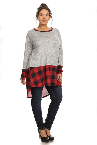 Plus Size Buffalo Plaid Hi Lo Top