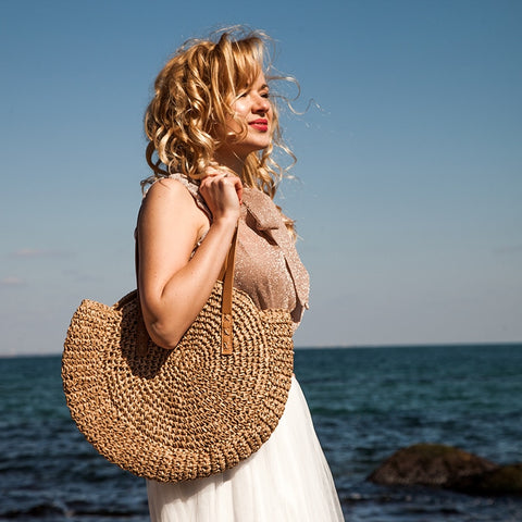 Bohemian Summer Straw Beach Bag