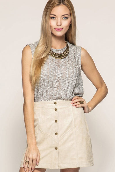 Button Down Mini Skirt - Sand