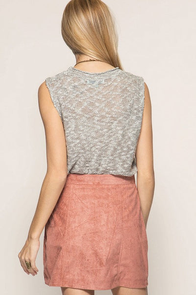 Button Down Mini Skirt - Dust Rose