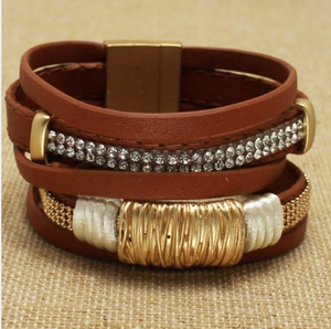 Bohemian Bliss Boutique,Brown Magnetic Wrap Bracelet,Bracelets,Bohemian Bliss