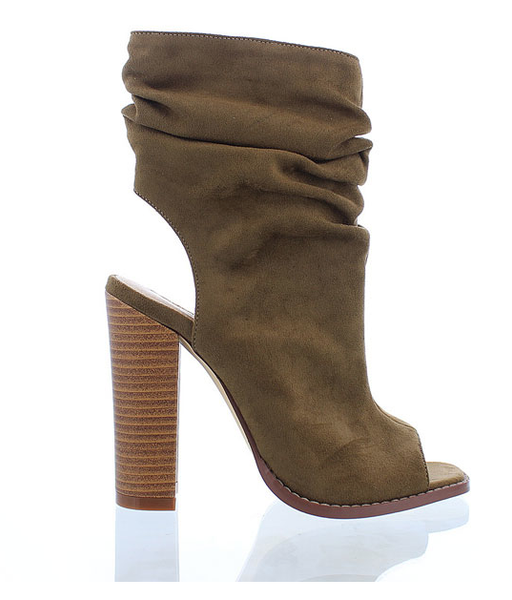 Olive Slouchy Peep Toe Bootie - Bohemian Bliss
