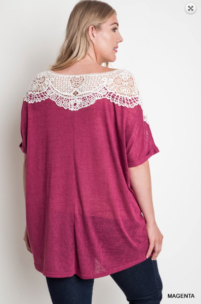 Umgee Magenta Patched Lace Sweater Tee - Bohemian Bliss