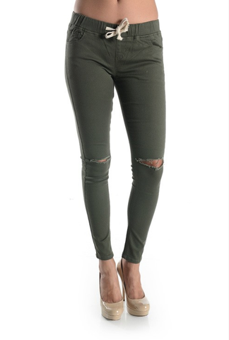 Bohemian Bliss Boutique,Skinny Twill Pants w/ Knee Slit- PLUS,Plus Bottoms,Bohemian Bliss