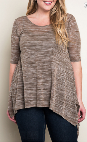 Bohemian Bliss Boutique,Mocha Colored Sharkbite Top - Plus,Plus Tops,La Vida