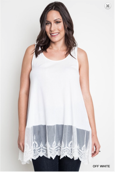 Ribbed Tank With Lace Trim - Off White - PLUS - Bohemian Bliss