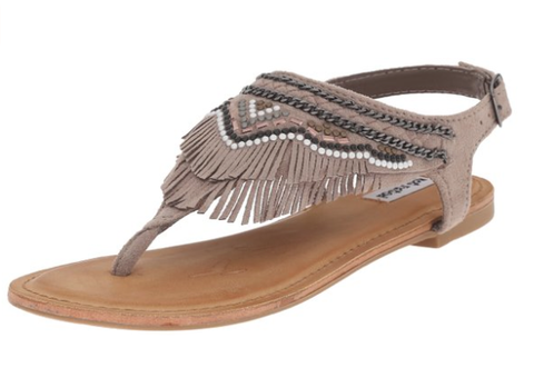 Bohemian Bliss Boutique,Taupe Fringe/Studded Gladiator Style Sandal,Shoes,Not Rated