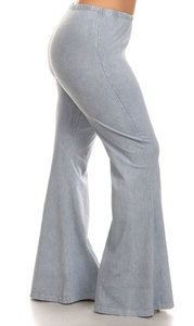 Bohemian Bliss Boutique,Fog Bellbottom Leggings (Plus),Plus Bottoms,Chatoyant
