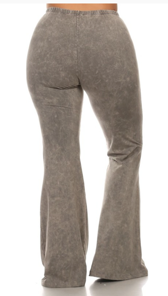 Bohemian Bliss Boutique,Taupe/Grey Mineral Washed Bellbottom Pants (PLUS),Plus Bottoms,Chatoyant