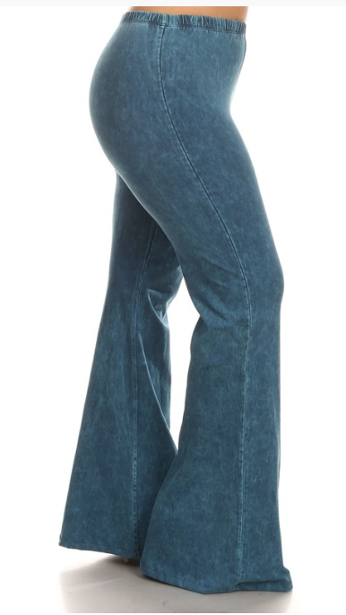 Bohemian Bliss Boutique,Cyan Mineral Washed Bellbottom Pants (PLUS),Plus Bottoms,Chatoyant