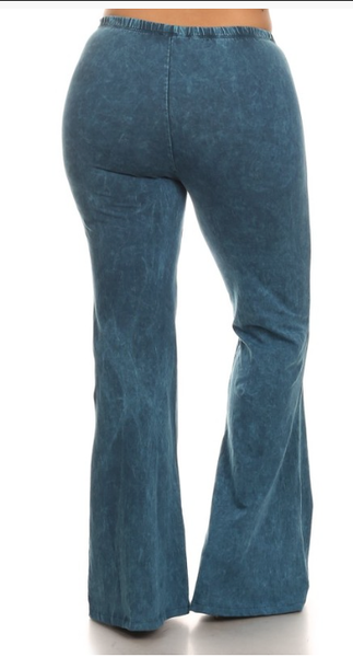 Cyan Mineral Washed Bellbottom Pants (PLUS) - Bohemian Bliss