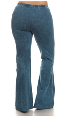 Cyan Mineral Washed Bellbottom Pants (PLUS), Plus Bottoms - Bohemian Bliss Boutique