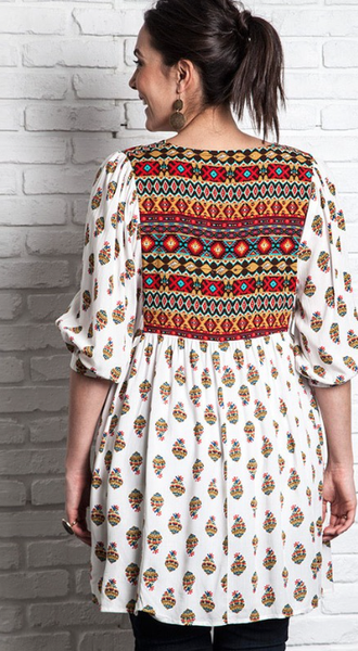 Umgee Mixed Print Peasant Dress/Tunic (Plus) - Bohemian Bliss