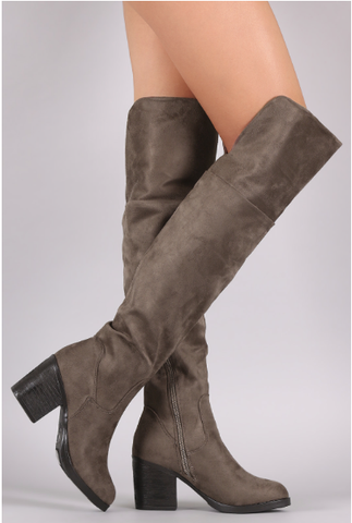 Bohemian Bliss Boutique,Taupe Bamboo Suede Folded Cuff Chunky Heeled Riding Boots,Shoes,JP Original