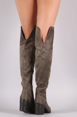 Taupe Bamboo Suede Folded Cuff Chunky Heeled Riding Boots - Bohemian Bliss