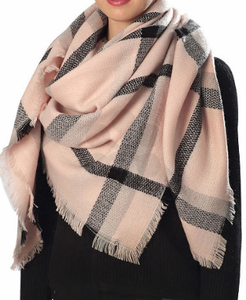 Bohemian Bliss Boutique,Rose Checker Pattern Blanket Scarf,Scarves,Golden Stella