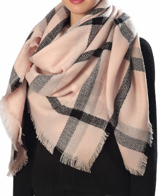 Rose Checker Pattern Blanket Scarf - Bohemian Bliss