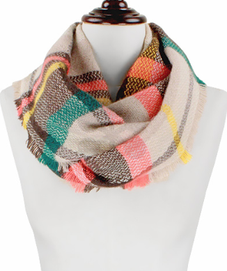 Infinity Plaid Scarf, Scarves - Bohemian Bliss Boutique