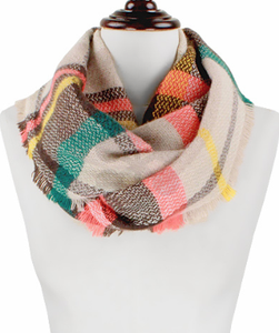 Bohemian Bliss Boutique,Infinity Plaid Scarf,Scarves,Golden Stella