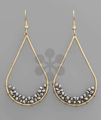 Gold with Rhodium Glass bead Earrings