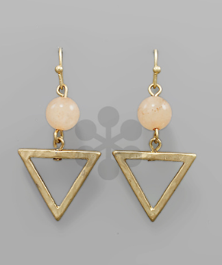 Gold Triangle w/ Coral Ball Stone Earrings
