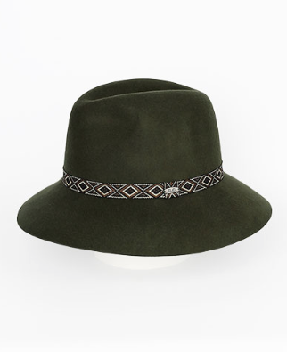Moss Green Tribal Band Wool Hat