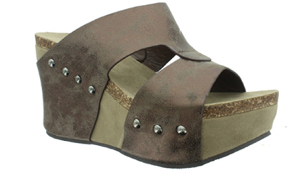 Pierre Dumas Slip On Wedges - Bronze