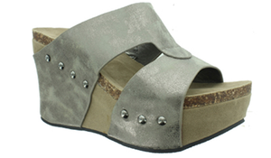 Bohemian Bliss Boutique,Pierre Dumas Slip On Wedges - Pewter,Shoes,OLEM