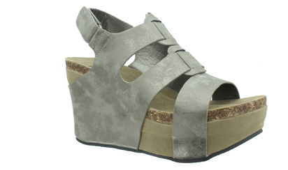 Pierre Dumas Strapped Wedge - Pewter, Shoes - Bohemian Bliss Boutique