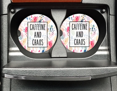 Bohemian Bliss Boutique,Caffeine And Chaos Car Coaster,Gifts,Mugsby Wholesale