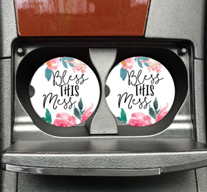 Bohemian Bliss Boutique,BlessThis Mess Car Coaster,Gifts,Mugsby Wholesale