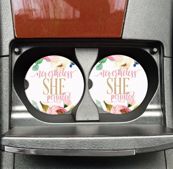 Bohemian Bliss Boutique,Nevertheless She Persisted Car Coaster,Gifts,Mugsby Wholesale